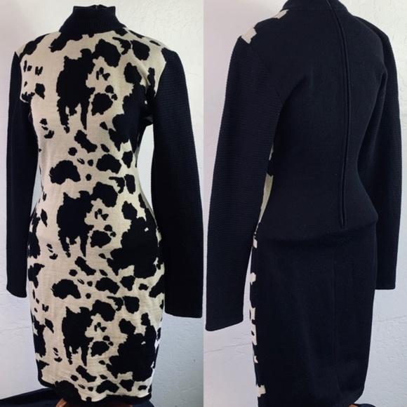 Patrick Kelly Paris Cowhide Print Wool Dress
